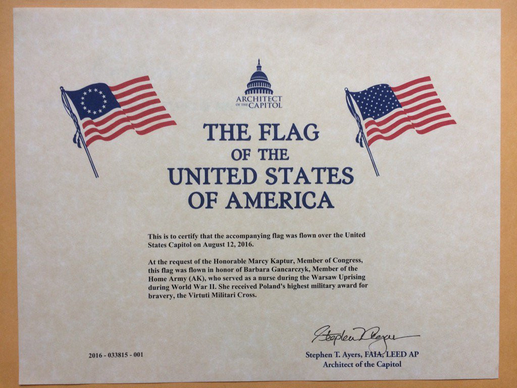 US CONgress certificate